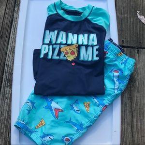 "Boy's Size 14 ""Wanna Pizza Me"" Swim Outfit"